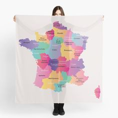 """Colorful France map with regions and main cities"" Scarf by mashmosh 