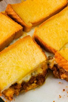 Sloppy Joe Grilled Cheese Casserole is an easy ground beef dinner recipe your whole family will love. This tasty casserole is loaded with mozzarella cheese and sloppy joe filling sandwiched between two layers of bread. Hamburger Meat Recipes Easy, Ground Beef Recipes Easy, Beef Recipes For Dinner, Easy Recipes, Grilled Cheese Sloppy Joe, Grilled Cheese Recipes, Ground Chicken Casserole, Easy Cooking, Cooking Recipes