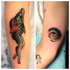 Tattooed both of these on the same great client today. First reverse mermaid I've gotten to do. Good times, noodle salad. Sorry for the spotty, bloody pic.  #ronwells #ronwellstattoo #thetorchbearer #reversemermaidtattoo #weirdeyetattoo #blackclaw #waverlycolorco #oldgoldsmallbatch