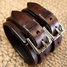 Leather cuff bracelet Double strap rich by MataraCustomLeather