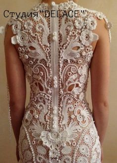Diy Crafts - 15 Ideas For Crochet Lace Flower Wedding Dresses Crochet Wedding Dresses, Wedding Dresses With Flowers, Lace Flowers, Prom Dresses, Irish Crochet Patterns, Lace Patterns, Crochet Cardigan, Crochet Lace, Doilies Crochet