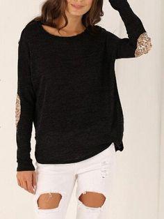 Loos Black T-Shirt with Sequins Elbow Patches Length(cm) :S:63cm,M:64cm,L:65cm,XL:66cm Sleeve Length(cm) :S:60cm,M:61cm,L:62cm,XL:63cm Bust(cm) :S:96cm,M:100cm,L:104cm,XL:108cm Size Available :S,M,L,X