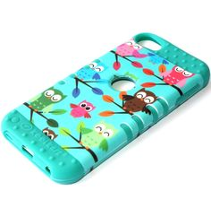 For iPod Touch 5th Generation - HARD&SOFT RUBBER HYBRID CASE TURQUOISE GREEN OWL #UnbrandedGeneric