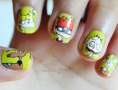 Rugrats cartoon nail art