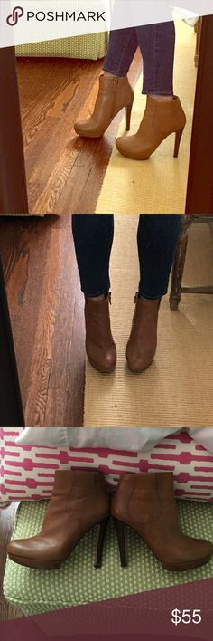 Perfect fall booties Tan leather heeled bootie by Rosegold. Looks great with cropped jeans or flare! Rosegold Shoes Heeled Boots