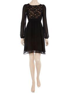 Black lace front chiffon dress - $75