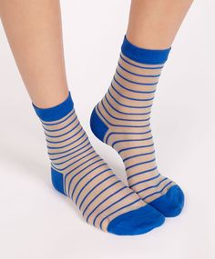 Sheer striped socks, null£ - null - Find more trends in women fashion at Oysho . Funky Socks, Cute Socks, My Socks, Fashion Socks, Fashion Heels, Socks World, Sheer Socks, Stocking Tights, Striped Socks