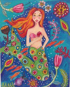 Mermaid Print Beach House Decor