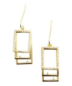 Jardin gold and crystal square drop earrings