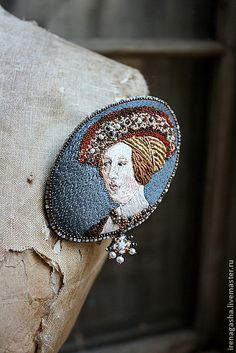 'Queen Mary of Hungary' by artist Hans Maler, 1480 -1526, hand embroidered with silk & cotton yarn, freshwater pearls, crystal beads, glass beads, bugle beads & antique gold thread by Irena Gasha.