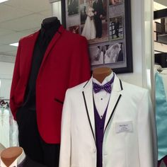 Two Sarnos tuxedos... Red w/ black trim and white with black trim! From Bridal & Tuxedo Shoppe in Newark, DE!