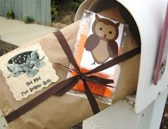 Accio, mail carrier!  Cute wrapping for a Harry Potter gift.