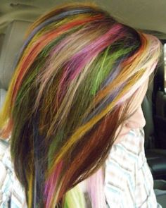 Multi Colored Hair...this would be fun for a day or two, but I don't think I could pull it off long term