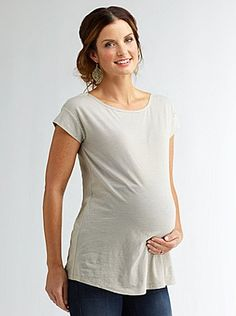 Maternity Ministripe Boatneck Tee - Cute maternity clothes on this site