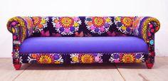 Amor suzani sofá azul por namedesignstudio en Etsy