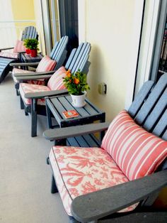 "nautical coral adirondack seat cushions | ""Our new custom cushions, on the patio of our vacation home on the Delmarva coast. We couldn't be more pleased with them!""    Featured Fabrics:  Alfresco Floating Seaweed Coral  Alfresco Tesoro Stripe Coral  Sunbrella Spectrum Graphite"
