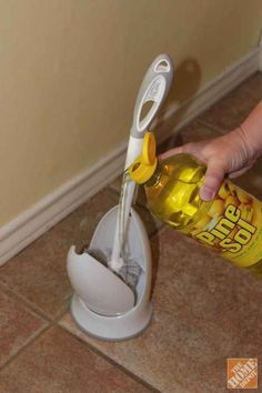 Home spring cleaning tips. Keep your toilet brush clean and fresh smelling by pouring a bit of Pine Sol in the bottom of the holder.