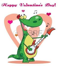 st valentines day: Smiling dinosaur plays guitar with heart background