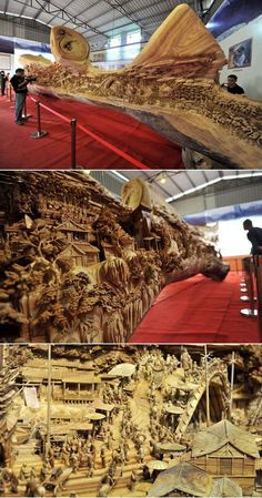 Chinese artist Zheng Chunhui's breathtaking 12.2-meter-long (over 40 ft) wooden carving. #masterpiece