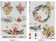navidad en punto de cruz Cross Stitch Geometric, Cross Stitch Love, Cross Stitch Charts, Cross Stitch Designs, Cross Stitch Patterns, Cross Stitch Christmas Cards, Christmas Cross, Cross Stitching, Cross Stitch Embroidery