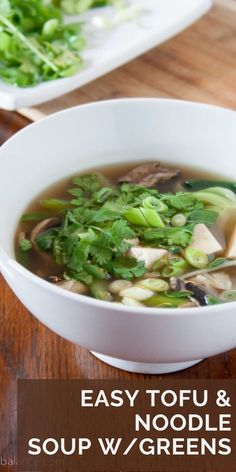 Asian inspired soup - with tonnes of greens, veggies and noodles. Kids love this soup. Full flavour broth with garlic and ginger. Try this tofu recipe!