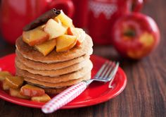 Apple Protein Pancakes - ½ cup quick cooking oats 4 egg whites ½ teaspoon vanilla extract 1 teaspoon butter or soft tub spread ½ apple, skin on, finely diced ½ teaspoon ground cinnamon