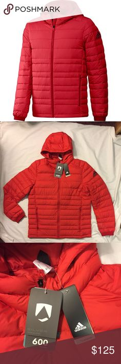 Adidas Climawarm Nuvic Down Jacket -- Men's L/XL Adidas Jacket New with Tags!  Also comes in blue with white logo.    *Light Weight *Down Feathers *Water Resistant  *Hooded *Warm adidas Jackets & Coats Lightweight & Shirt Jackets
