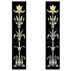 The Cast-tec Oriental Iris tile set is comprised of two panels for either side of the fireplace. Each panel is made up of five tiles in a floral pattern rising from the stem to the flower. Available in a green and yellow finish. Fireplace Remodel, Fireplace Tiles, Mini Boutique, Types Of Fire, Fire Equipment, Fireplace Accessories, Iris, Oriental, It Cast