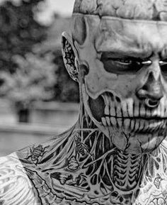 Face tattoo. Sick detail, but if I ever saw this guy in a dark alley, he would scare the shit out of me.