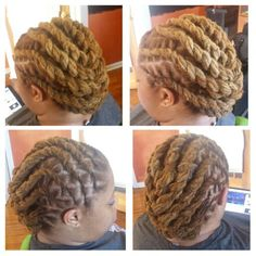 Large flattwisted locs into side bun. Loc twist set.  We recommend using Fabulocs Intense Moisture Therapy on locs for ultimate softness and sheen and Fabulocs Loc Binding Butter for loc maintenance to bind stubborn fuzzy hair.