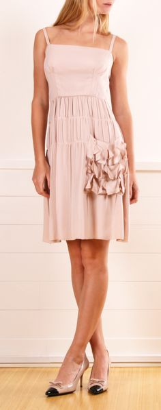 PRADA Pale pink dress with ruffle pocket