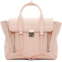 Structured grained leather shoulder bag in white peach. Silver-tone hardware. Double folded carry handles with tonal fastener at top. Removable adjustable leat…