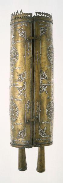 Samaritan Torah Case (Tik)  Matar Ishmael ha-Ramhi (active mid-16th-early 17th century)  Damascus (Syria), 1568  Copper: inlaid with silver  25 1/4 x 8 in. (64.1 x 20.3 cm)