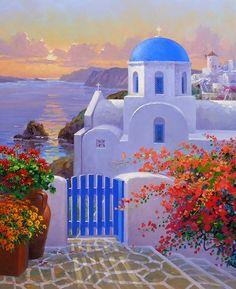 (usa) Santorini sunset by Mikki Senkarik ). a touch of Greece Landscape Art, Landscape Paintings, Sunrise Landscape, Greece Painting, Paint By Number Kits, Greek Art, Paint Set, Diy Painting, Painting Inspiration