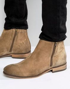 ASOS Chelsea Boots In Stone Suede With Double Zip