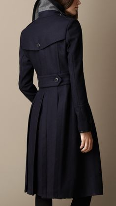 Wool Blend Military Pea Coat with Warmer   Burberry