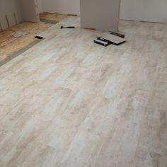 Installed x 2 ' vinyl click flooring over top of subfloor. Basement Bathroom, Bathroom Interior, Interior Paint, Click Flooring, Home Renovation, Tile Floor, Hardwood Floors, Living Spaces, Top