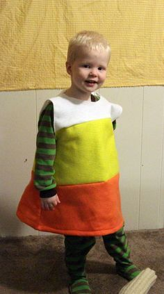 Make a Candy Corn Costume for $2.69 - well I love this idea, but for ME. Make a 60's style shift dress with colorblocking