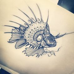 Have always wanted a lion fish tattoo Tattoo Pez, Sea Tattoo, Body Art Tattoos, Sleeve Tattoos, Piercing Tattoo, Piercings, Tattoo Sketches, Tattoo Drawings, Petit Tattoo
