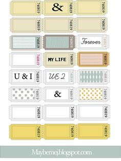 cute printable tickets-could use as bathroom passes. Print in cardstock. Bathroom, admit one!