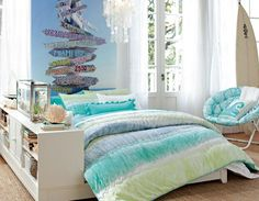 Bedroom Designs, The Favorable Soft Blue Wallpaper With Crystal Lighting A Colorful Blanket Fresh Room: Rooms For Teenagers And Inspirational Light Furniture
