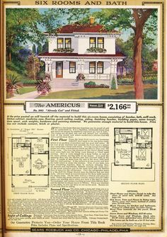 Indefatigable researcher and old house lover Rachel Shoemaker found another Sears House in Tulsa. This is the Sears Americus, and it's one of my favorite Sears The Sims, Sims 4, Sears Catalog Homes, Vintage House Plans, Vintage Homes, Cottages And Bungalows, Craftsman House Plans, Craftsman Style, Prefabricated Houses