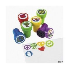 One package of 6 assorted peace sign party stampers. Peace Sign Party, Peace Sign Birthday, Beatles Party, Recycle Symbol, Earth Day Activities, Fun Express, Theme Days, Kawaii, Arts And Crafts Projects
