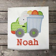Boys Easter Shirt,Easter Bunny Dump Truck Shirt,Appliqué Embroidered Shirt Bodysuit