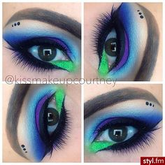 purple /blue smokey eyes with bright green accent