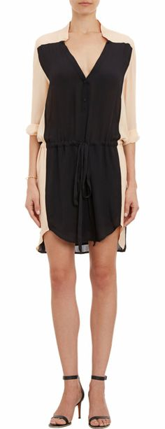 { colorblock crepe shirt dress }