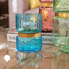 Lava Glass Vases, Blue - Gold Leaf Design Group