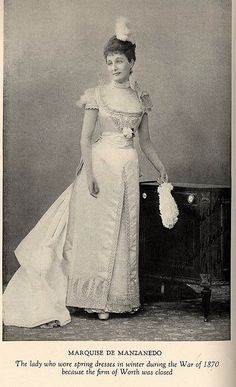 "Marquise de Manzanedo in Worth Gown, 1870  From the book ""A Century of Fashion"" by Jean-Philippe Worth, 1928.    Must get this book!"