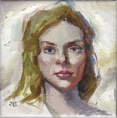 Listed Artist - Oil Painting - 5x5 inches - Study of a Young Girl's Face -