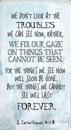2 Corinthians 4:18: the things we cannot see will last forever.
